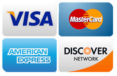 Visa, Mastercard, AmEx, Discover accepted